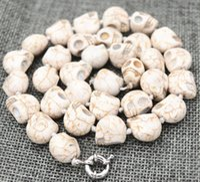 geschnitzte schädelperlen großhandel-New 10x12mm Weiß Türkis geschnitzter Schädel-Kopf-Korn-Mala Halskette