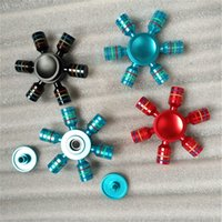 Wholesale Rubber Fingertips - Aluminum Alloy Hexagon Fidget Hand Spinner Metal Fingertips Spiral Fingers Gyro Six Angle Spinner Decompression Toy