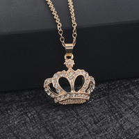 Wholesale Golden Crown Necklace - Korean version Fashion Golden Crown Pendant Necklace Made Classic for Women Crystal Royal necklace Jewelry Wholesale