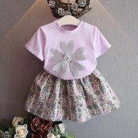 Wholesale Purple Plaid Skirt Girls - Purple Flower Girls Dress Suits new 2017 Summer Fashion set T shirt Tops Flower Skirt Children Outfit Toddler Clothes Infant Clothing A403