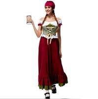 ropa oktoberfest al por mayor-2017 Oktoberfest Beer Girl Costume Sexy Cosplay Halloween Uniforme Tentación Tradicional Ropa Bávara Nacional Venta Caliente