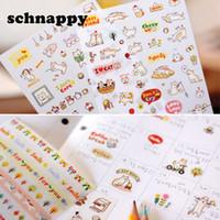 hojas de pegatinas para niños al por mayor-Cute Lovely 6 Sheet Paper Stickers para Diary Scrapbook Notebook Decoración de pared DIY Cartoon Scrapbooking Stickers Children Play Toys