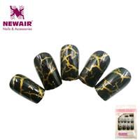 Wholesale New Fake Glue Nails - Wholesale- New Full Cover False Nails With Glue Short Fake Nails Tips Artificial Nail Faux Ongles Nail Art Design Women