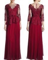 Wholesale Purple Peplum Skirt - dark red mother of the bride dresses lace bodice and silk chiffon skirt evening gown 3 4 sleeve peplum waist Round neckline scalloped