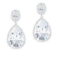 Wholesale Solid White Gold Diamond Earrings - 10.00CT PEAR & OVAL HALO DIAMOND EARRING SOLID 14K WHITE GOLD PARTY WEAR EARRING