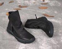 Wholesale black leather ankle booties - GUOGEN Resell wholesale simple black genuine leather women boots vintagequality martin ankle booties stylish girl boot size35-40
