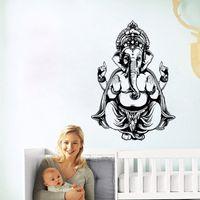 Wholesale Modern Elephant Wall Art - Indian Round Elephant Pattern Wall Sticker Symbol Ganesha Creative Art Mandala wall sticker murals room decoration vinyl buddha sticker