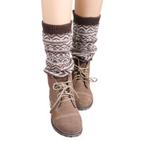 Wholesale Jacquard Knitted Legging - Wholesale- Hot Selling Women Jacquard Knitted Leg Warmers Socks Boot Cover High Quality Chaussette Nice Gift New Arrival