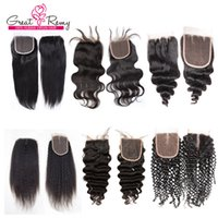 Wholesale Malaysia Deep Wave - Malaysia Deep Curly Peruvian Hair Closure Loose Wave Raw Virgin Indian Straight Brazilian Body Wave Cambodian Human Hair Lace Closure Mixed