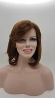 ingrosso capelli biondi asiatici-XT734 Sintesi pura fibra naturale moda femminile asiatica con frangia inclinata stile parrucca capelli Mid Mid d'oro scuro