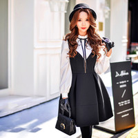 Pleated Dresses black skirt with suspenders - DABUWAWA Women Fashion Party Going Out Spring Autumn Suspender Dress V Neck Pleated Skirt Sleeveless With Straps Black Dress