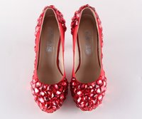 Wholesale Lady Bow Pump Platform - platform custom-made diamond pearl red color bride wedding party dress high heel women lady shoe 281