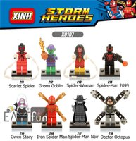 8PCS Mini Figures Marvel Building Blocks Super Heroes Spider-Man Minitoy Building Blocks Iron Spider Man Figures Bricks Jouets Figurines d'action