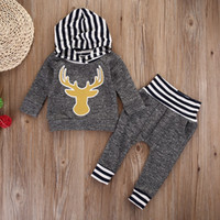 Wholesale Thick Pants Winter Toddler - Autumn Winter Baby Boy Boutique Clothes Warm Thick Outfit Grey Kids Clothing Set Hooded Top Legging Pants Striped Reindeer Toddler Tracksuit