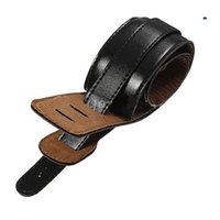 Wholesale straps for guitars - Hot Soft PU Leather Thick Strap For Electric Acoustic Guitar Bass Black