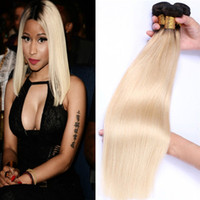 Brazilian Straight Human Hair Tela Ombre T1b / 613 Blonde Two Tone Color Full Head 3pcs / lot Double Wefts Remy Hair Extensions