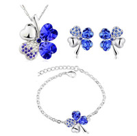 Wholesale Light Blue Necklace Cheap - Women Austria Crystal Pendant Necklace Bracelet Earrings Set Fashion Four Leaf Clover Crystal Silver Jewelry Set for Women Girls Gift Cheap