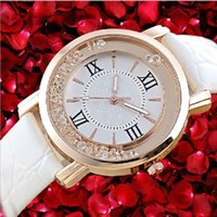Wholesale Girl Student Dress - Luxury diamond leather watches Crystal design fashion Quicksand Watches Women ladies quartz dress wristwatches casual students girl watch