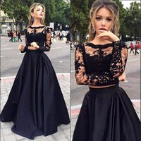 Wholesale Long Sleeved Formals Red - Black 2 Piece Prom Dresses Long 2017 Modest Sheer Long Sleeved Formal Evening Pageant Gowns Satin A-Line Party Dress