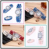 Wholesale Orange String Bracelet - New fashion luxury alloy metal diamond watch ladies pearl string bracelet ladies dresses quartz party watches free shipping wholesale