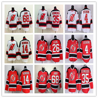 diabos jersey elias venda por atacado-Cheap 2017 New Jersey Devils Camisolas de Hóquei Barato 14 Adam Henrique 26 Patrik Elias Uniformes Vermelho Branco 35 Schneide 4 Scott Stevens 9 Hall