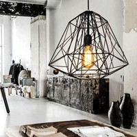 Wholesale Cage Black Metal Pendant Light - Vintage Industrial Style Metal Cage Pendant Light Chandelier lights Living Room Bar Loft Pendant Lamp Black White