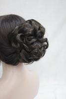 schwanzclips großhandel-Mode Frauen Dunkelbraun Synthetische kurze Lockige Wellenförmige Klaue Clip Pferdeschwanz Pony Tail Hair Extension Haarteil