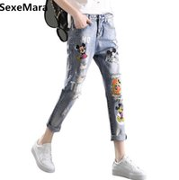 Wholesale Girls Waist Coats - Wholesale- Mickey Boyfriend Hole Ripped Jeans Women Pants Cool Denim Straight Jeans for Girl Mid Waist Casual Pants Female