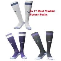 Wholesale 16 Hose - Benwon - Real Madrid 16 17 soccer socks adult sport socks men's Knee High cotton soccer stocking thai quality Thicken Towel Bottom long hose