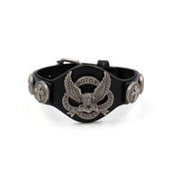 Wholesale Eagle Charm Bracelet - 2017 Ride To Live Bracelets Men Bracelet Genuine Leather Harley Rider Bracelet Mens Eagle Bracelets & Bangles Wristband