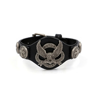 bracelet aigle achat en gros de-2017 Roulez Pour Vivre Bracelets Hommes Bracelet Véritable En Cuir Harley Rider Bracelet Mens Aigle Bracelets Bracelets Bracelet