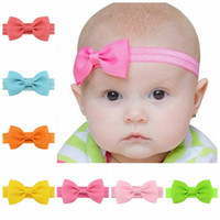 Wholesale Small Grosgrain Hair Bows - 20Pcs Lot Baby Girl Small Bow Tie Headband Grosgrain Ribbon Bow Elastic Hair Bands Handmade Baby Hair Accessories Beautiful HuiLin C72