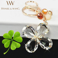 Wholesale Clover Movie - Lucky Clover Crystal Clear Keychain Car Key Ring Bag Charm Key Holder Key Chains Chaveiro Llaveros Mujer Friend Gift KC09