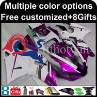 Wholesale Yamaha R6 Fairings Kit Pink - purple white kit motorcycle cowl for Yamaha YZF-R6 1998-2002 98 99 00 91 92 YZFR6 1998 1999 2000 2001 2002 ABS Plastic Fairing