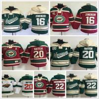 пустая хоккейная футболка оптовых-Миннесота Дикий толстовки 16 Джейсон Цукер 22 кал Clutterbuck 20 Райан Сутер хоккей с капюшоном толстовки пустой зеленый красный белый