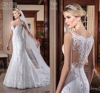 Wholesale backless designer dresses - 2017 Newest Mermaid Wedding Dresses Ivory White Lace V Neck Beach Wedding Gowns Designer Vintage Wedding Dresses Bridal Gowns Custom Made