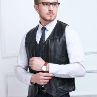 Wholesale Leather Sleeveless Jackets For Men - Wholesale- Luxury Vest For Men Sleeveless Jacket Genuine Leather Motorcycle Waistcoat Plus Size Sheepskin Autumn Winter Classic Black Gilet