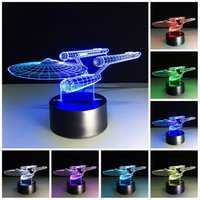 Wholesale Press Night Light - Free Shipping 3D illusion Bulbing Night 7 Color Change Press Switch Table Desk lamp LED light (Star Trek)