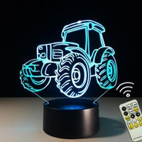 Wholesale Led Novelty Lamp Changes Colors - Novelty Decorative 3D Truck Night Light LED 7 Colors Change Touch Remote Control Bedside Table Lamp Acrylic Night Light
