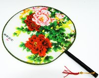Wholesale Ethnic Craft Gift - Tassel Flower Handle Round Fan Chinese Silk Palace Hand held Fans Crafts Gift Women's Ethnic Dance show props