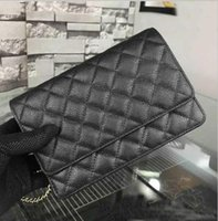 Wholesale Black Quilted Wallet - Fab Price Classic Quilted Famous Brand Women Genuine Caviar Leather Original Quality WOC Bag Plaid Wallets On Chain Flap Bag Micro Bag Ghw