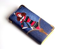 Wholesale Mixed Women Jeans - Cartoon Wallet Faux Jeans PU leather Purse 19.5cm Long Money Card Holder wholesale mixed styles