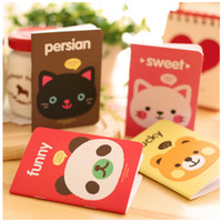 Wholesale Korea Diary Cute - A6 Cartoon Mini Notepads Lovely Animals Korea Stationery Hard Copybook Multi-Colors Notebook Mini Suture Note Diary