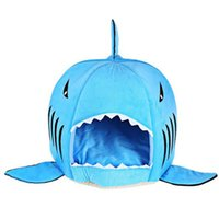 Wholesale blue dog beds - Cartoon Shark Mouse Shape Washable Doghouse Pet Sleeping Bed Novelty Soft Dog Cat Bed Bule Grey Color With Removable Cushion