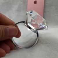 Wholesale Clear Napkin Ring Holder - Wholesale- 4PCS 40mm New Clear Diamond Napkin Ring Serviette Holder Wedding Banquet Dinner Decor