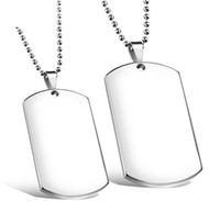 Wholesale Men Necklace Military - Beichong Wholesale Blank Engravable Stainless Steel Cat Dog Tag Military Shape Men Pendant for boys Free Shipping