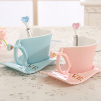 Wholesale Coffee Cup Top - Top grade European style ceramic coffee cup dish heart cup creative gift creative couple love ceramic cup disc set