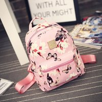 Wholesale Ladies Backpack Shopping Bags - 2018 women casual shopping bags new fashion ladies travel Backpack Fashion Causal Floral Printing Leather Bag