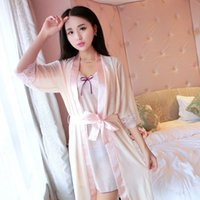 Wholesale Sexy Pyjamas Women - New Women Solid silk Erotic lingerie sexy lingerie Sleepwear Negligee Erotic Costumes sexy lenceria Pyjamas lingerie sexy hot eroticksexy003