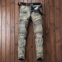 Wholesale Motor Fit - Fashion Jeans Pants Streetwear Mens Motor Biker Jeans homme Motorcycle Slim Fit Moto Strech Denim Pants Joggers Skinny Men Jeans Pants